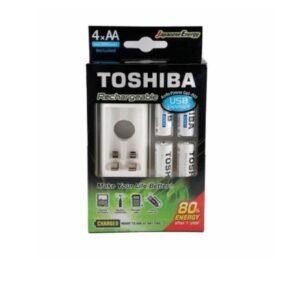 Cargador Usb De Pilas Ni-mh + 4 Aa 2000 Mah Toshiba